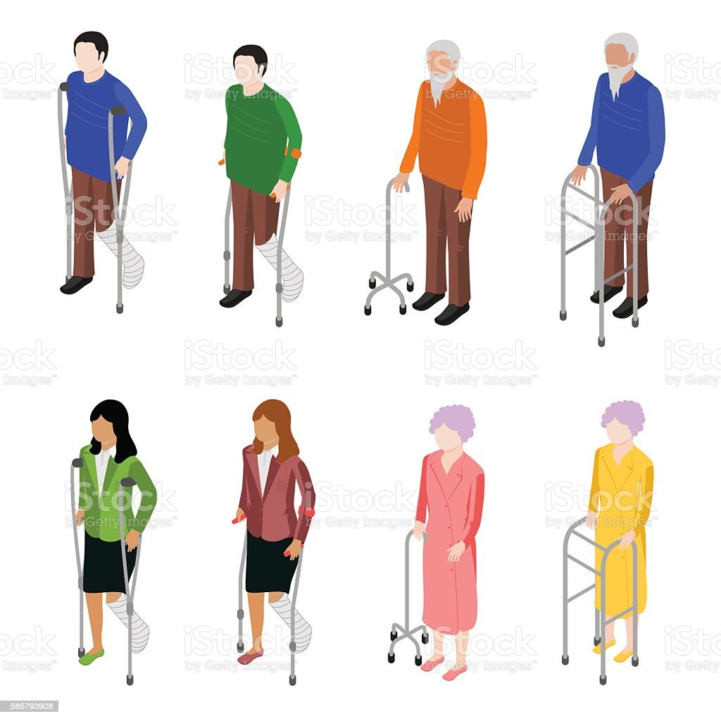 Set of people with crutches. vector art illustration