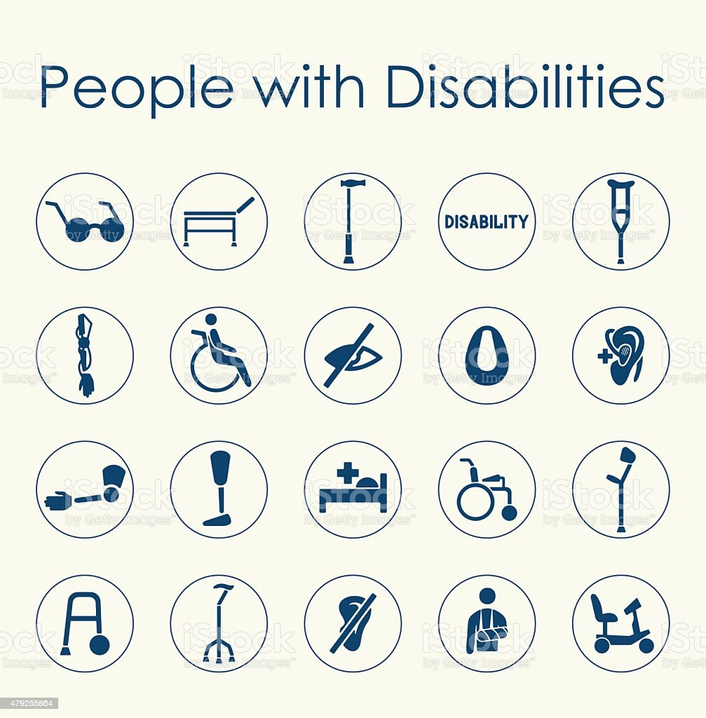 Set of people with disabilities simple icons vector art illustration