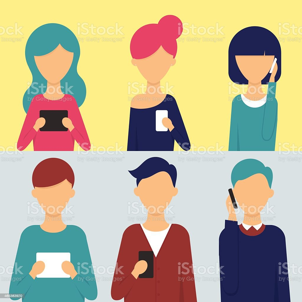 Set of people with tablets and smartphones in their hands vector art illustration