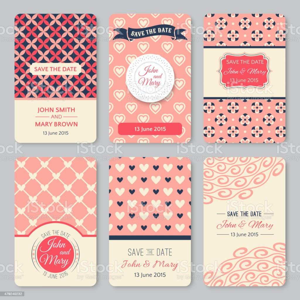 Set of perfect wedding templates with pattern theme vector art illustration