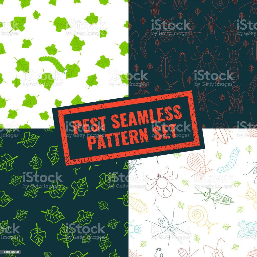 Set of pest seamless patterns vector art illustration