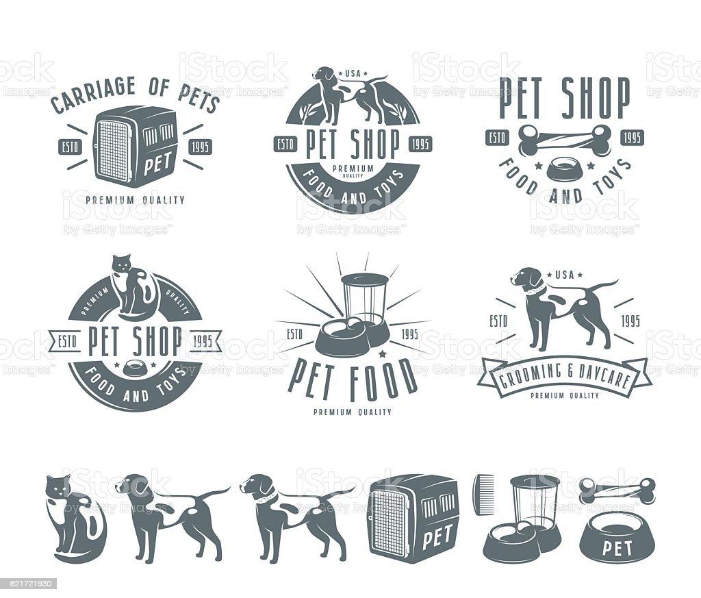 Set of pet care labels, badges and design elements vector art illustration