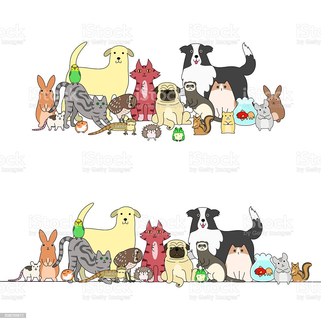set of pets, a row and a group vector art illustration
