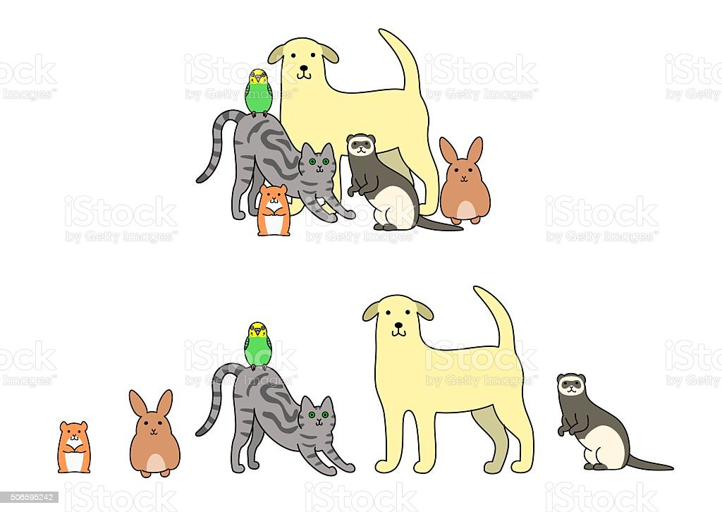 Set of pets illustration, in a row and a group vector art illustration