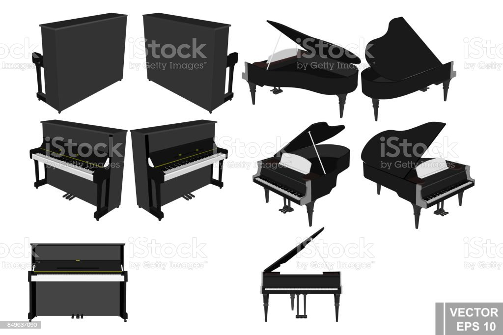 A set of pianos and pianoforte. Musical instrument. Realistic. Isolated on white background. vector art illustration