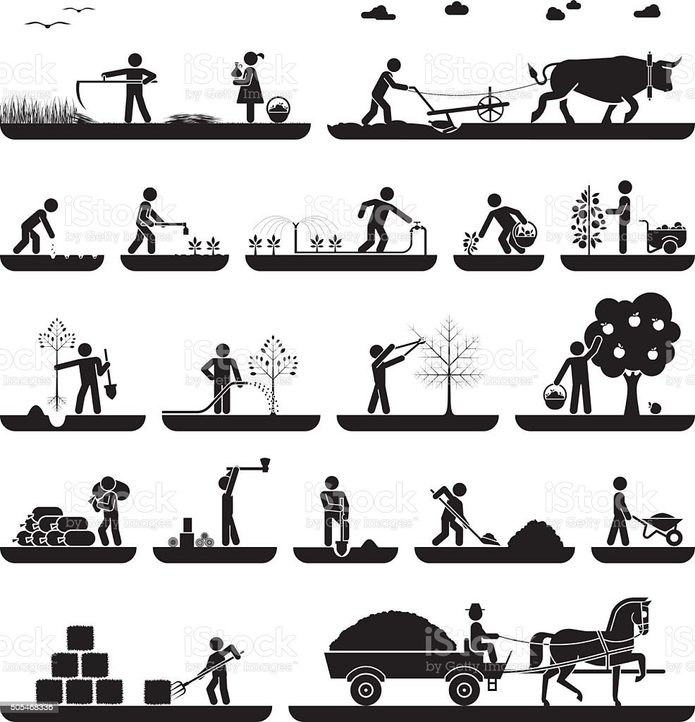 Set of pictogram icons presenting agricultural work vector art illustration
