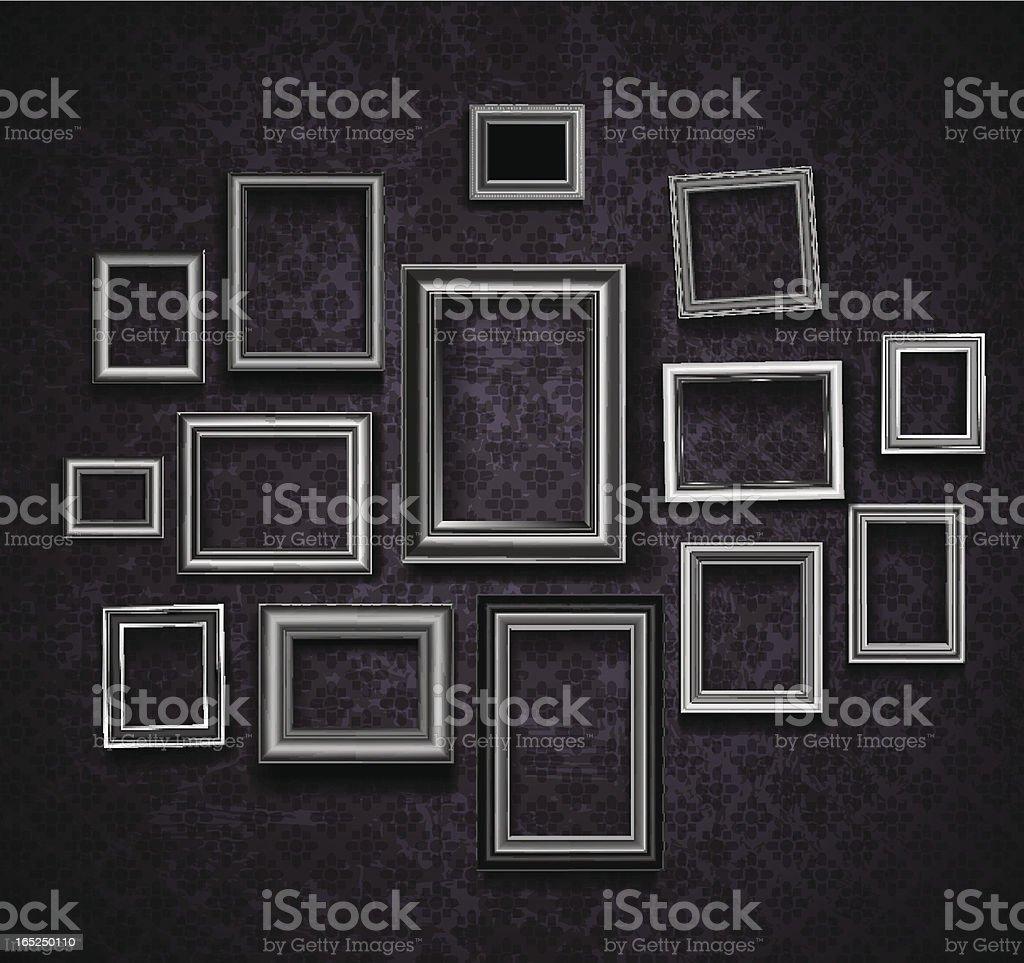 Set of picture frames on dark violet background vector art illustration