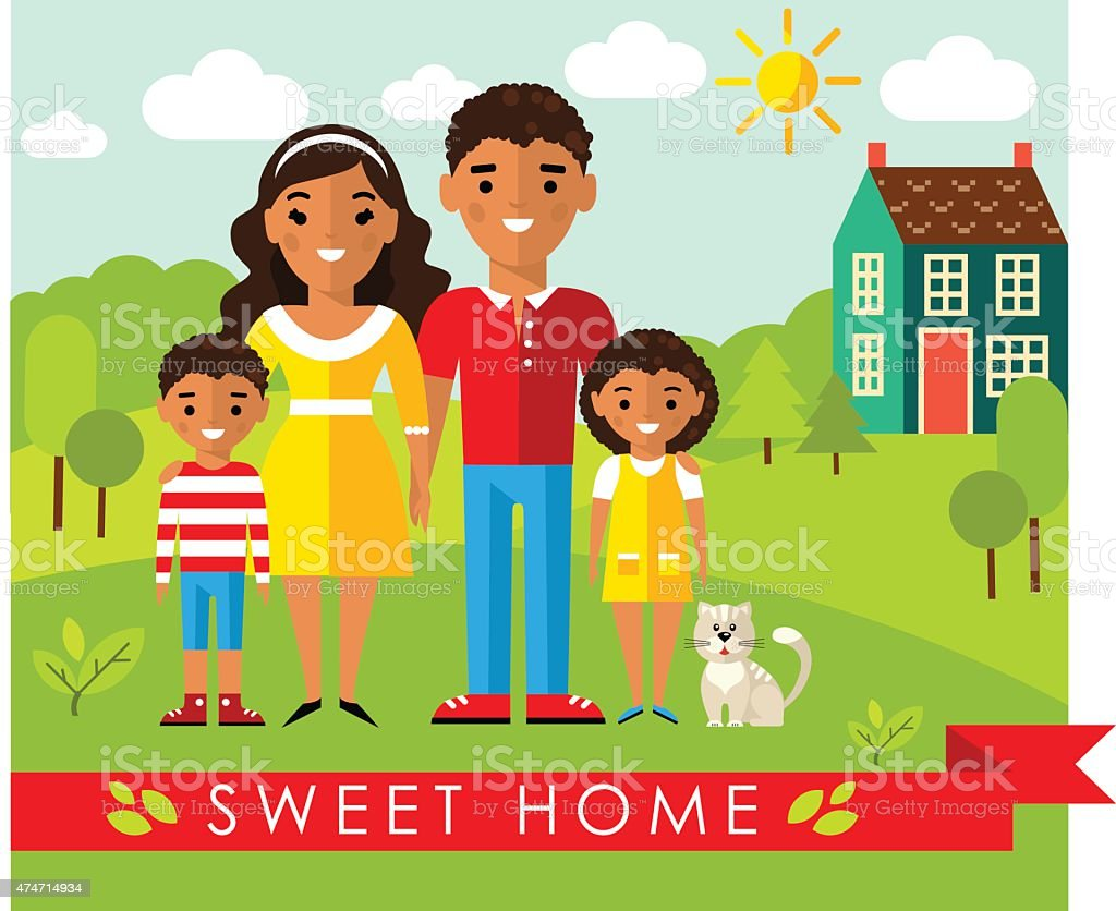Set of pictures african american family and landscape with home vector art illustration