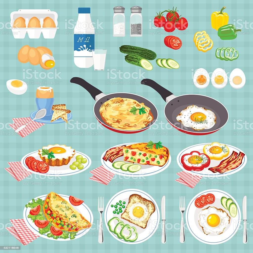 Set of pictures cooked eggs. vector art illustration
