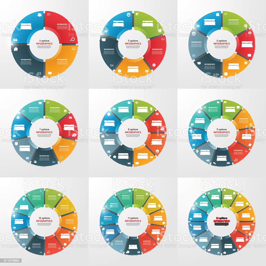 Set of pie chart circle infographic templates with 4-12 options vector art illustration