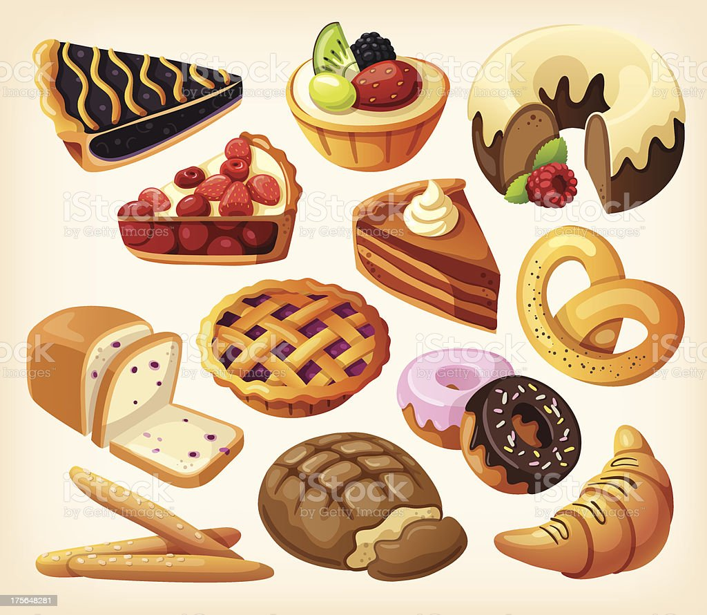 Set of pies and flour products from bakery vector art illustration