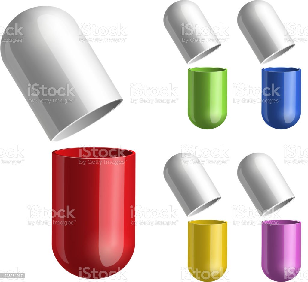Set of pills opened in two halfs . royalty-free stock vector art