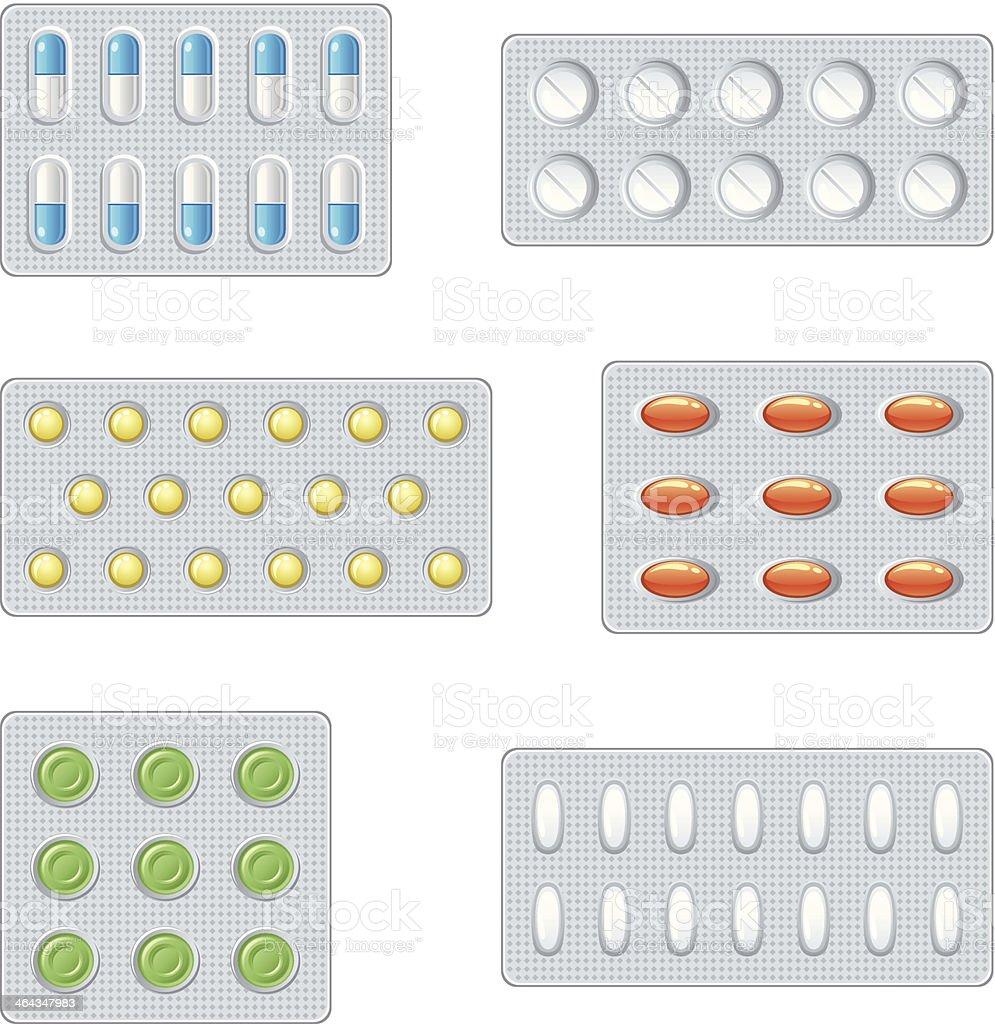 Set of pills vector art illustration