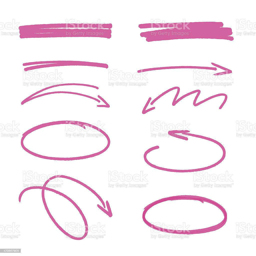 set of pink hand drawn arrows signs and highlighting elements vector art illustration
