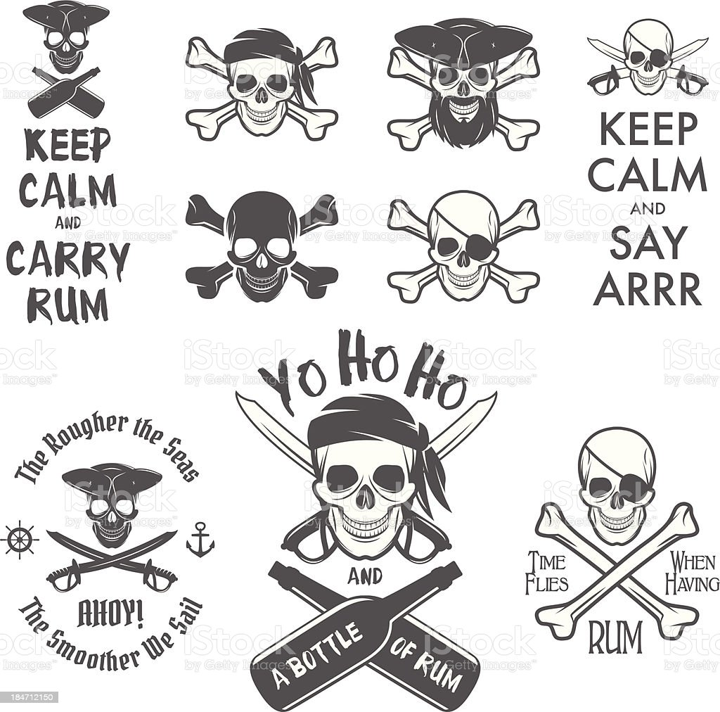 Set of pirate themed design elements royalty-free stock vector art