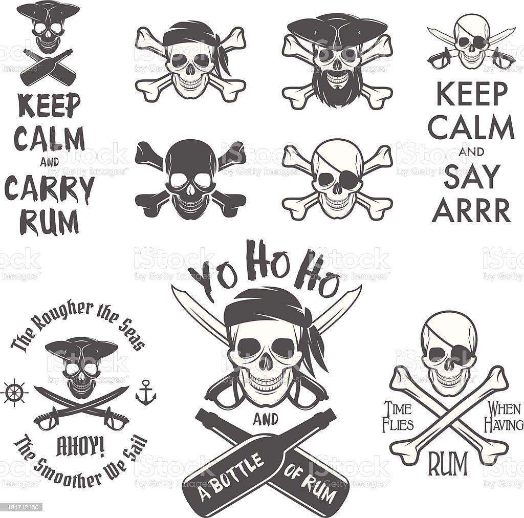 Set of pirate themed design elements vector art illustration