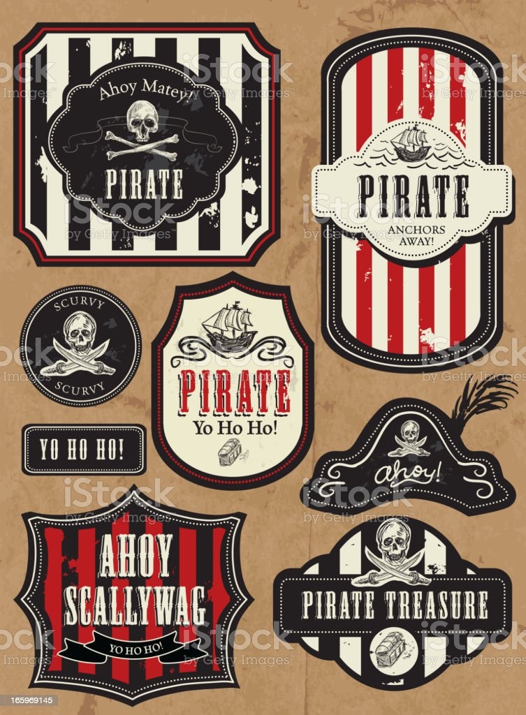 Set of Pirate themed labels vector art illustration