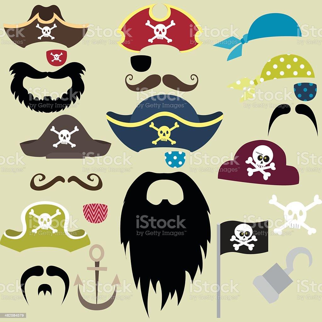 Set of Pirates Elements - Illustration royalty-free stock vector art
