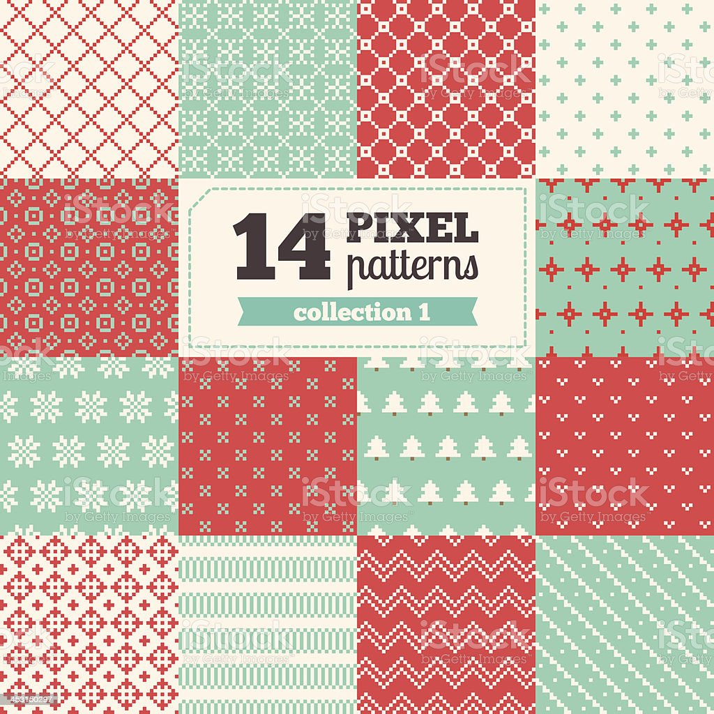 Set of pixel patterns - Christmas vector art illustration
