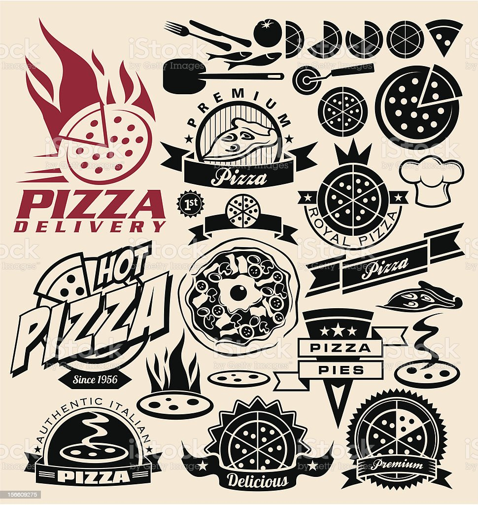 Set of pizza icons and design concepts vector art illustration