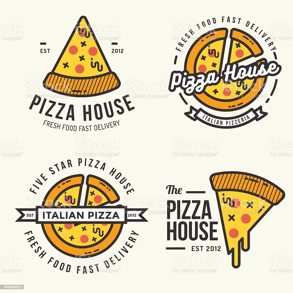 Set of pizza logo, badges, banners for fast food restaurant. vector art illustration