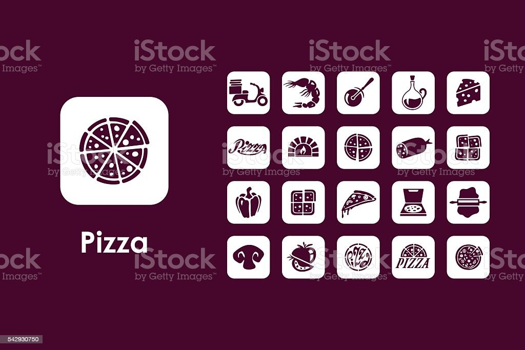 Set of pizza simple icons vector art illustration