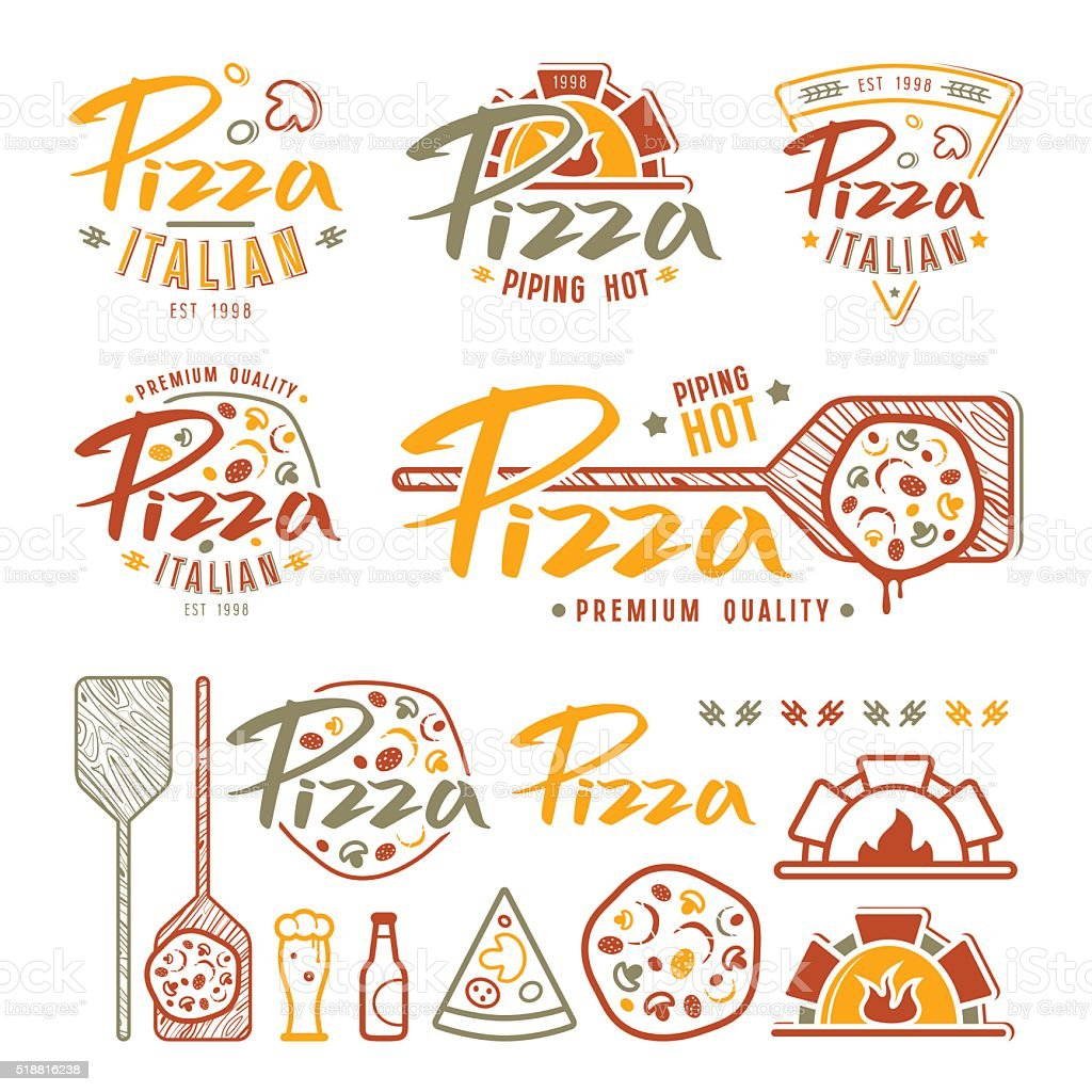 Set of pizzeria labels, badges, and design elements vector art illustration