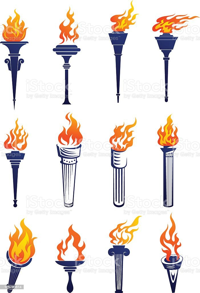 Set of plain and 3D lit up torches graphics royalty-free stock vector art