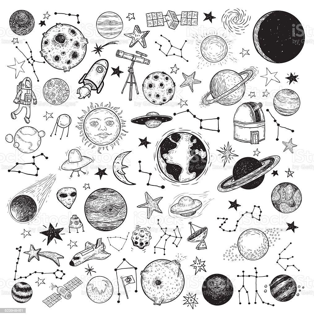 Set of planets icon, hand drawn vector illustration. vector art illustration