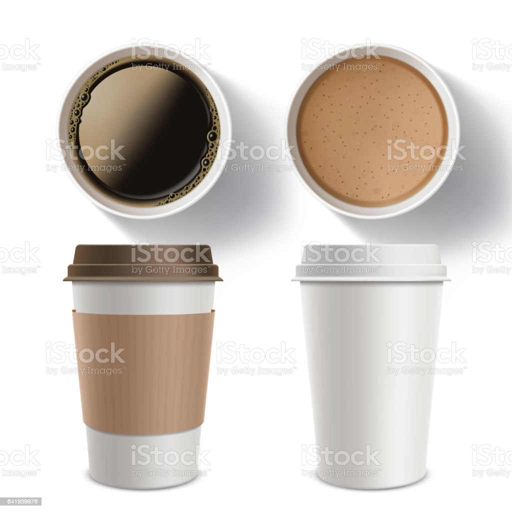 Set of plastic containers of coffee. Isolated mockup on a white background. vector art illustration