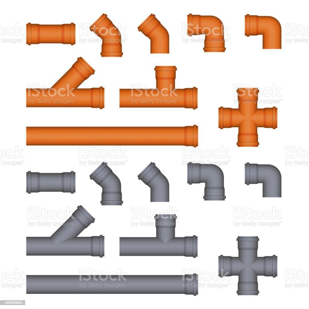 Set of plastic sewer pipes. vector art illustration