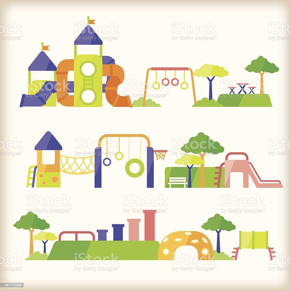 set of playground vector art illustration