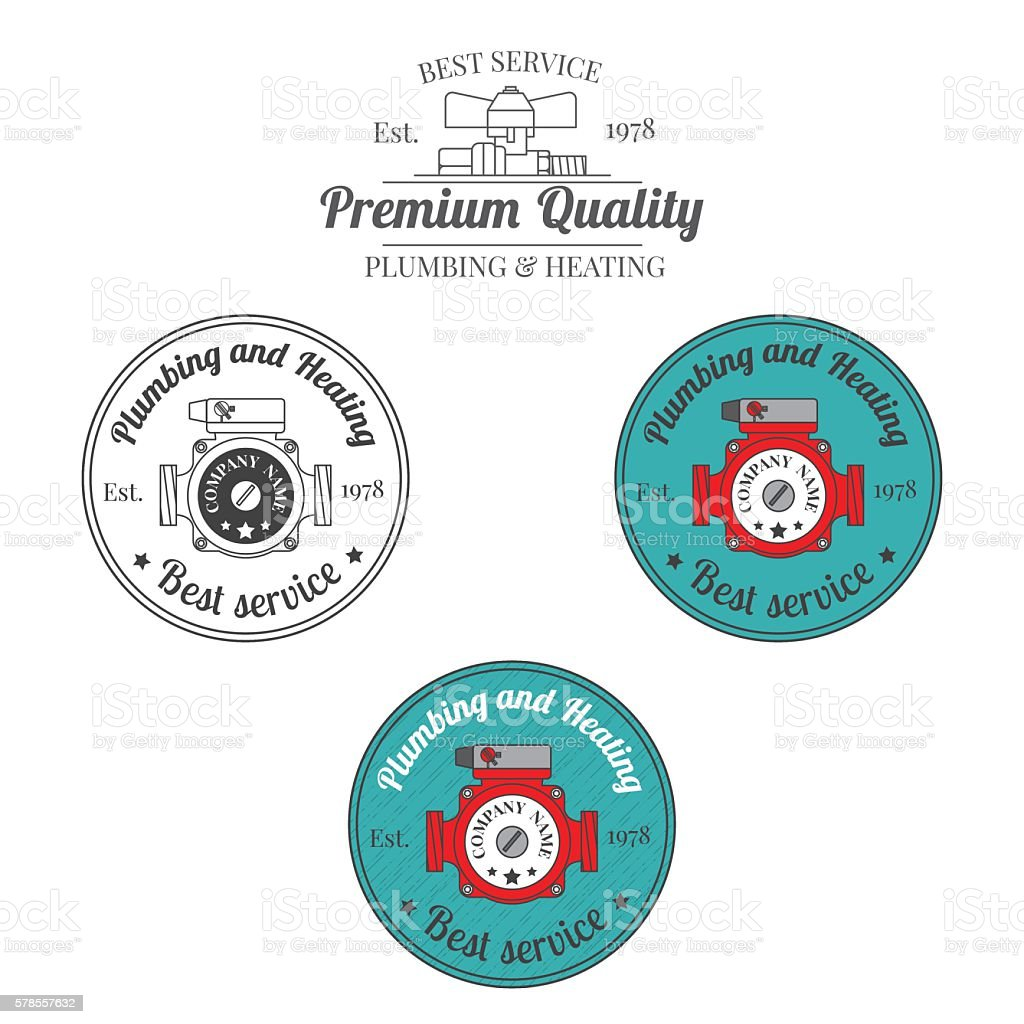Set of plumbing and heating vintage labels. vector art illustration