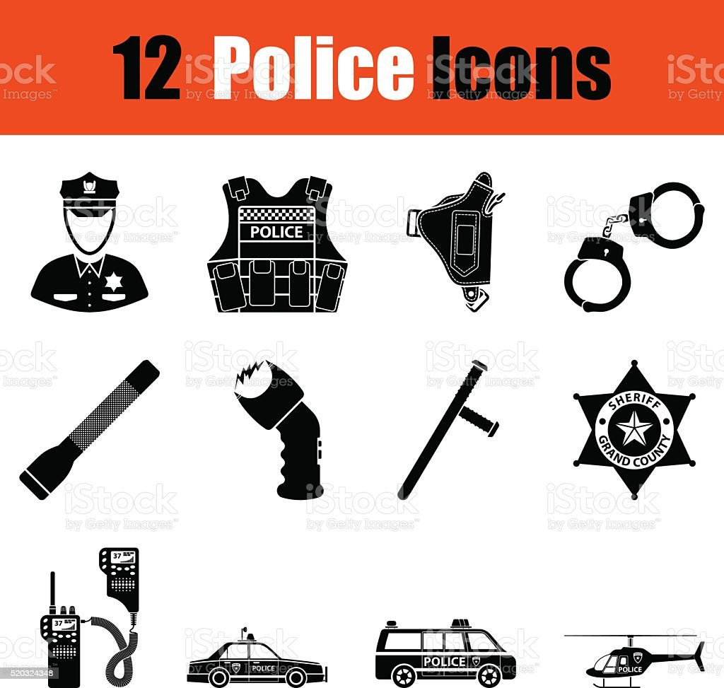 Set of police icons vector art illustration