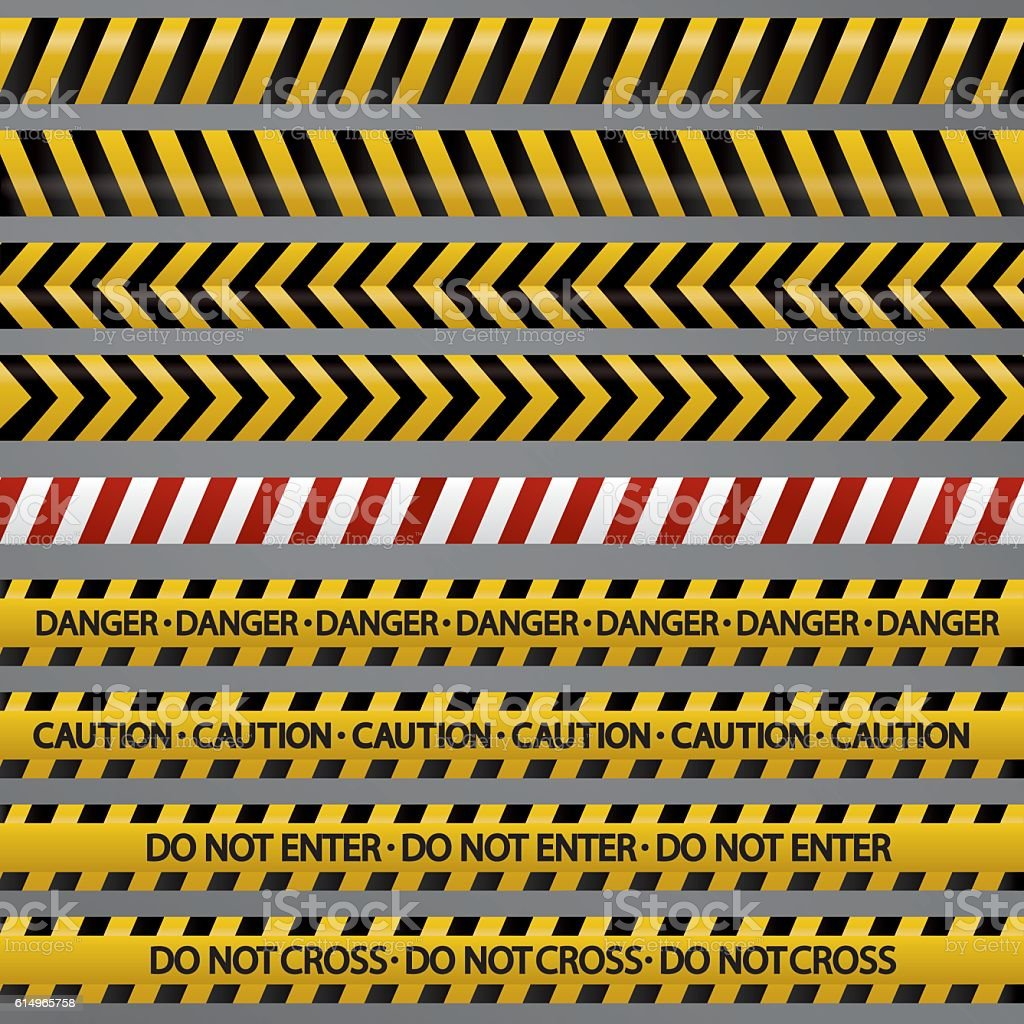 Set of police security tapes vector art illustration