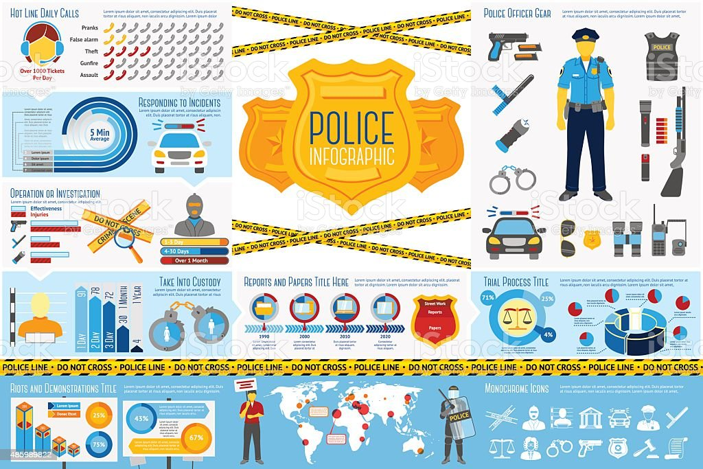 Set of Police work Infographic elements with icons, different charts vector art illustration