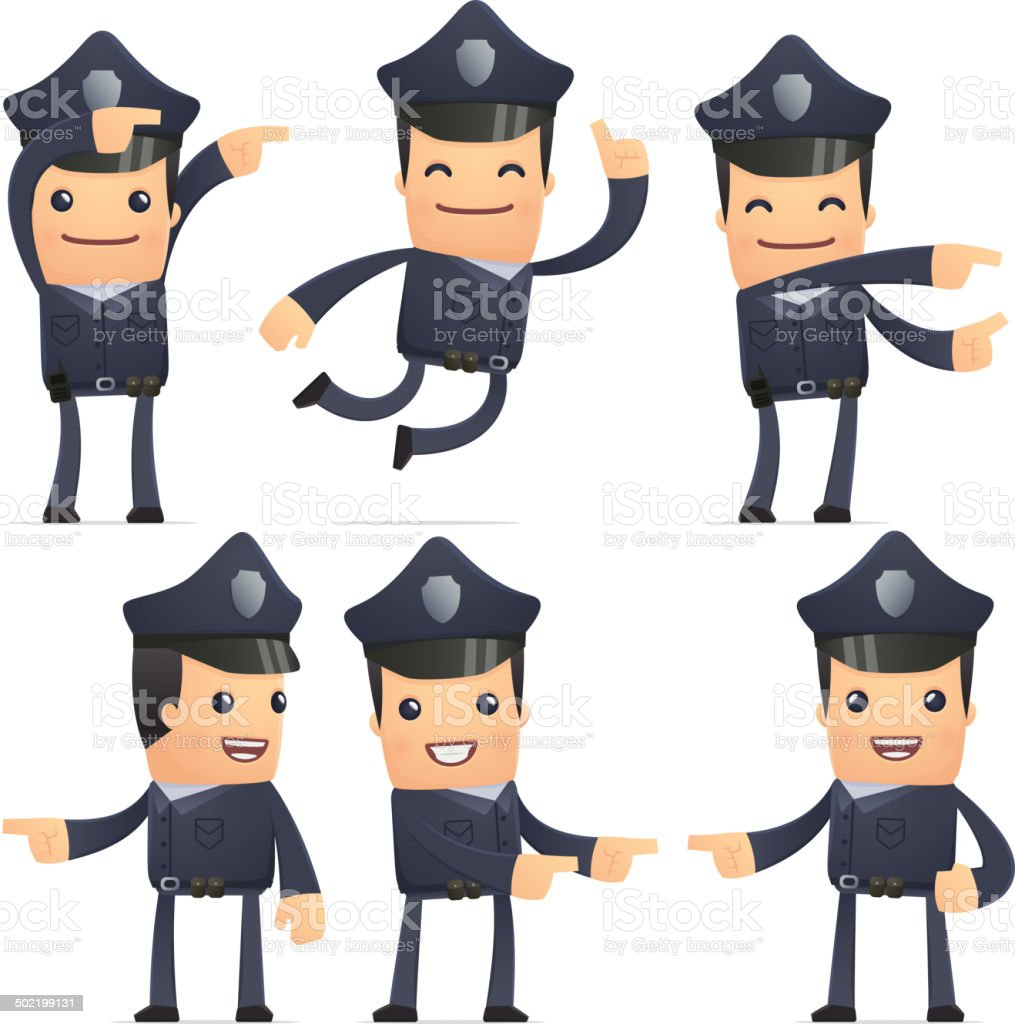 set of policeman character in different poses royalty-free stock vector art