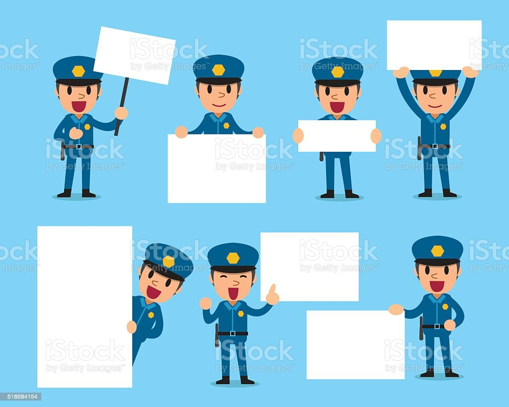 Set of policeman with blank white banner vector art illustration