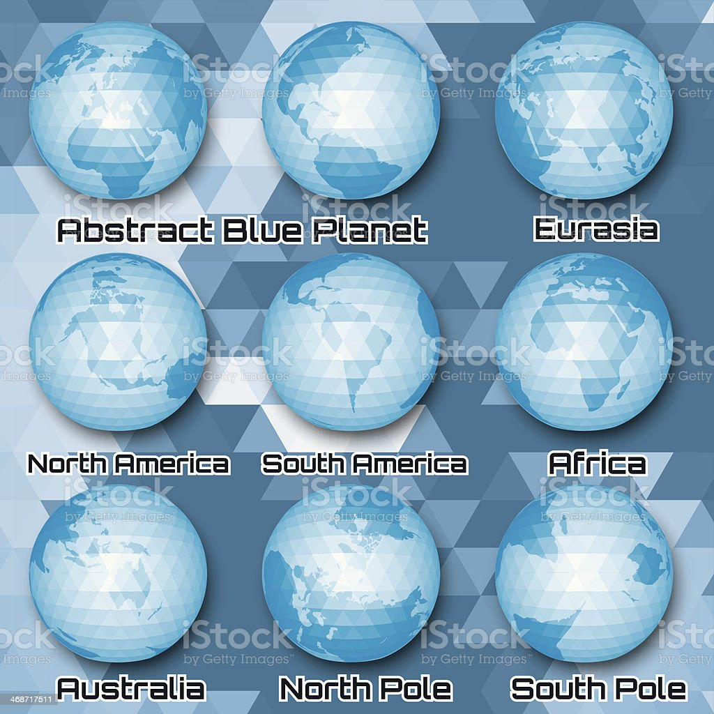 set of polygonal abstract globes with mainlands royalty-free stock vector art