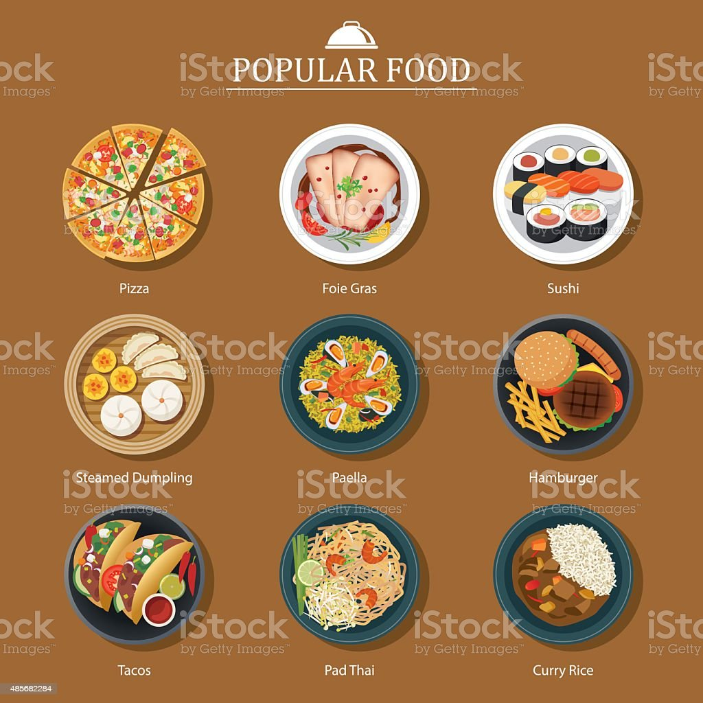 set of popular food vector art illustration