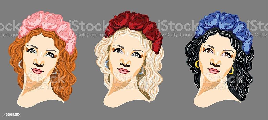 Set of portraits of girls in flower wreath vector art illustration