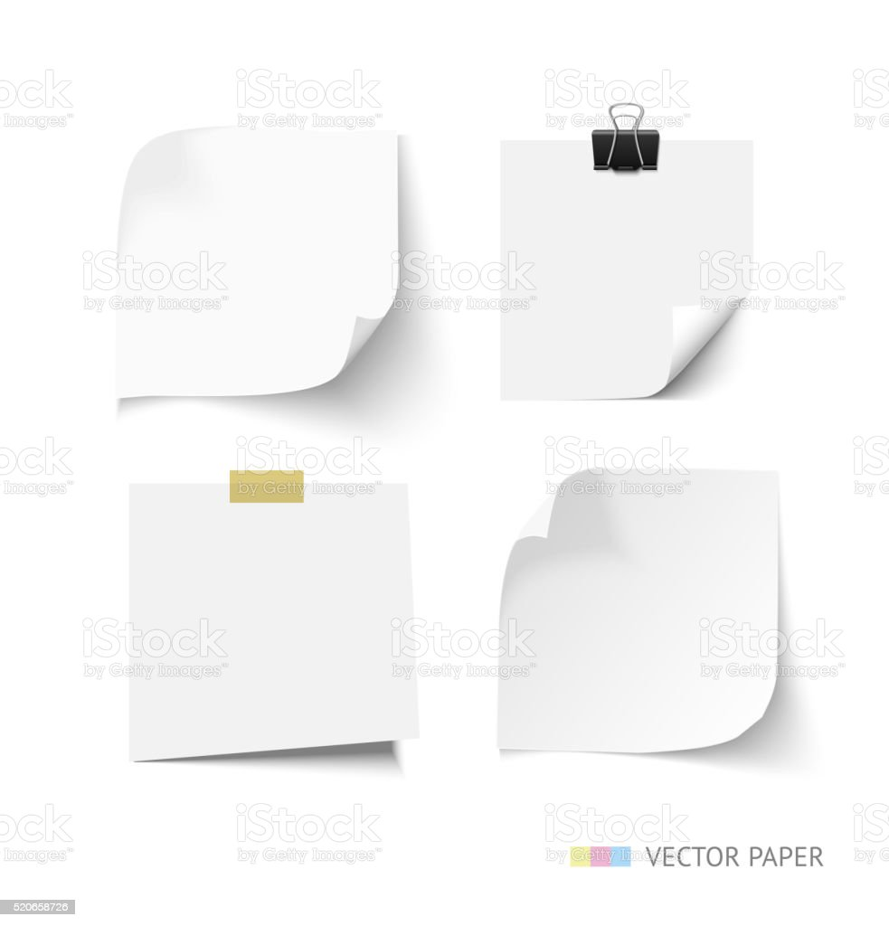 Set of post it paper sheets. Realistic vector notepaper with vector art illustration