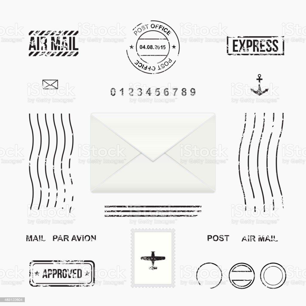 Set of post stamp symbols vector art illustration
