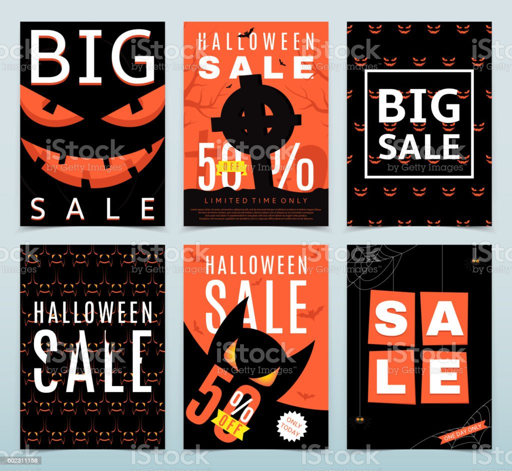 Set of posters for Halloween sale royalty-free stock vector art