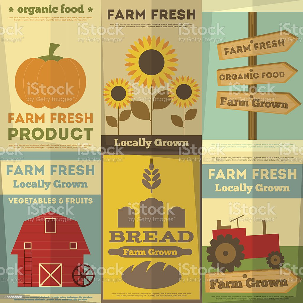 Set of Posters for Organic Farm Food royalty-free stock vector art