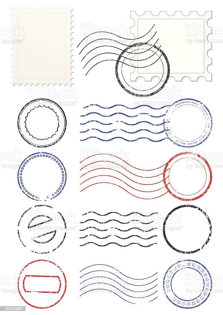 Set of postmarks and stamps vector art illustration