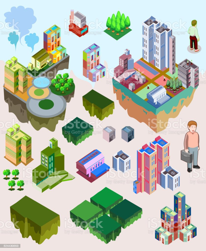 set of pre assembly city vector isometric vector art illustration