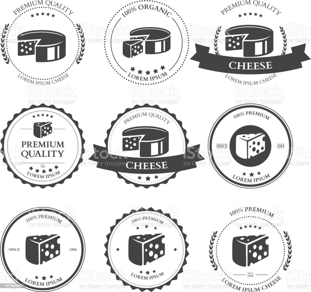 Set of premium Cheese Labels badges. Vector vector art illustration