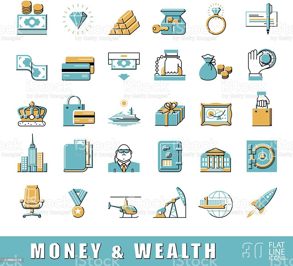 Set of premium quality flat line money and wealth icons. vector art illustration