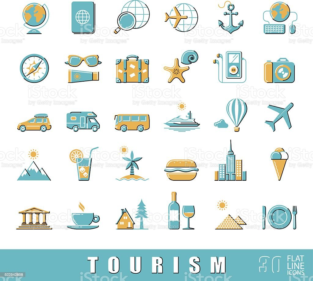 Set of premium quality flat line tourism icons. vector art illustration